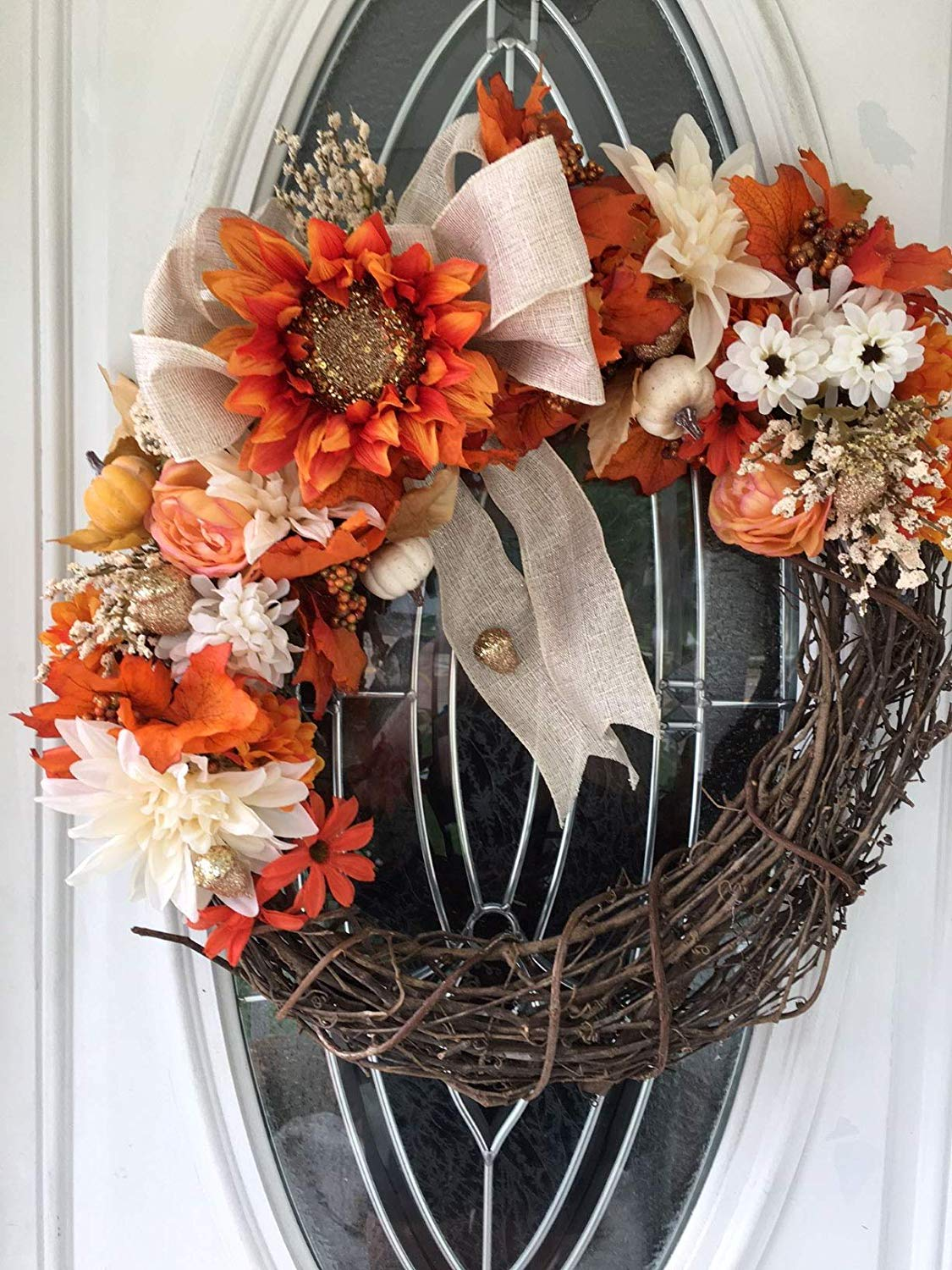 Fall Wreath, Fall Grapevine Wreath for Front Door, Door Wreath, Thanksgiving, Fall Harvest, Sunflowers, Indoor Outdoor Wreath, Ready to Ship for Free**