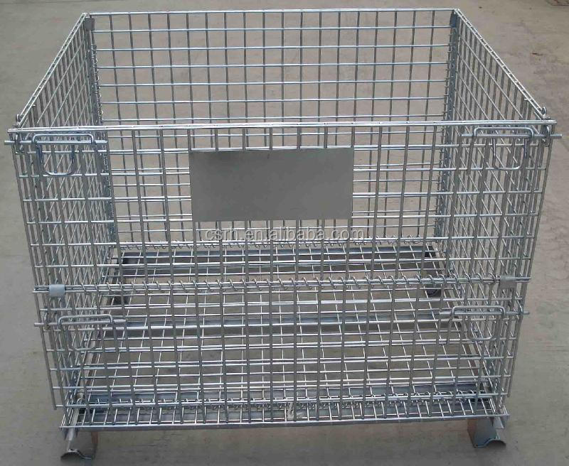 Warehouse Storage Metal Container Folding Steel Cage