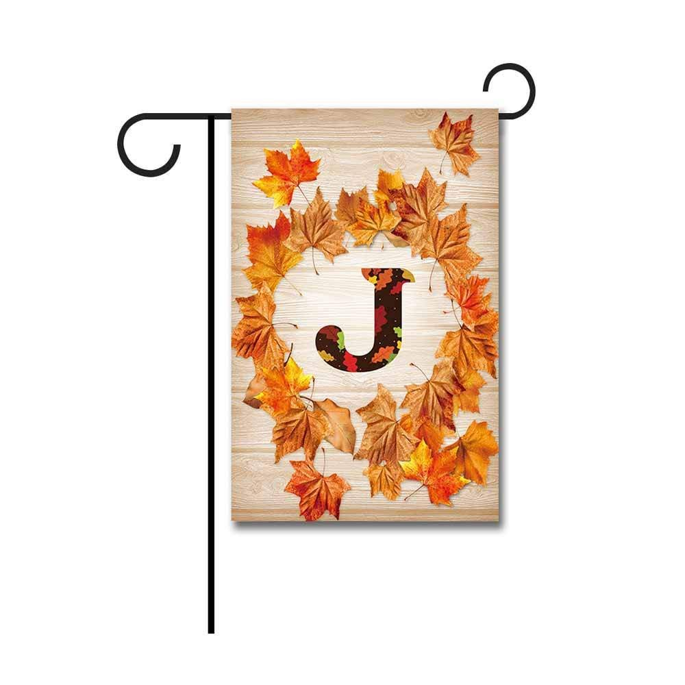 "Kafepross Garden Flag Monogram J Decorative Happy Fall Y'all Leaves Autumn Letter Banner For Outdoor 12.5""X18"" Print Both Sides"