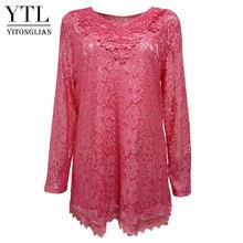 YTL Женская однотонная розовая кружевная блузка в стиле ретро с цветочным принтом, с длинным рукавом и v-образным вырезом, вязаная туника, топ...(Китай)