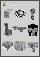 wholesale elegant zebra printed satin linen table cloth, wedding tablecloth, runners, chair covers sashes and napkins