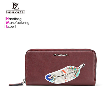 7016A - 2017 Hot sale brand fashion feather pattern design long women PU leather wallet China wholesale manufacturer