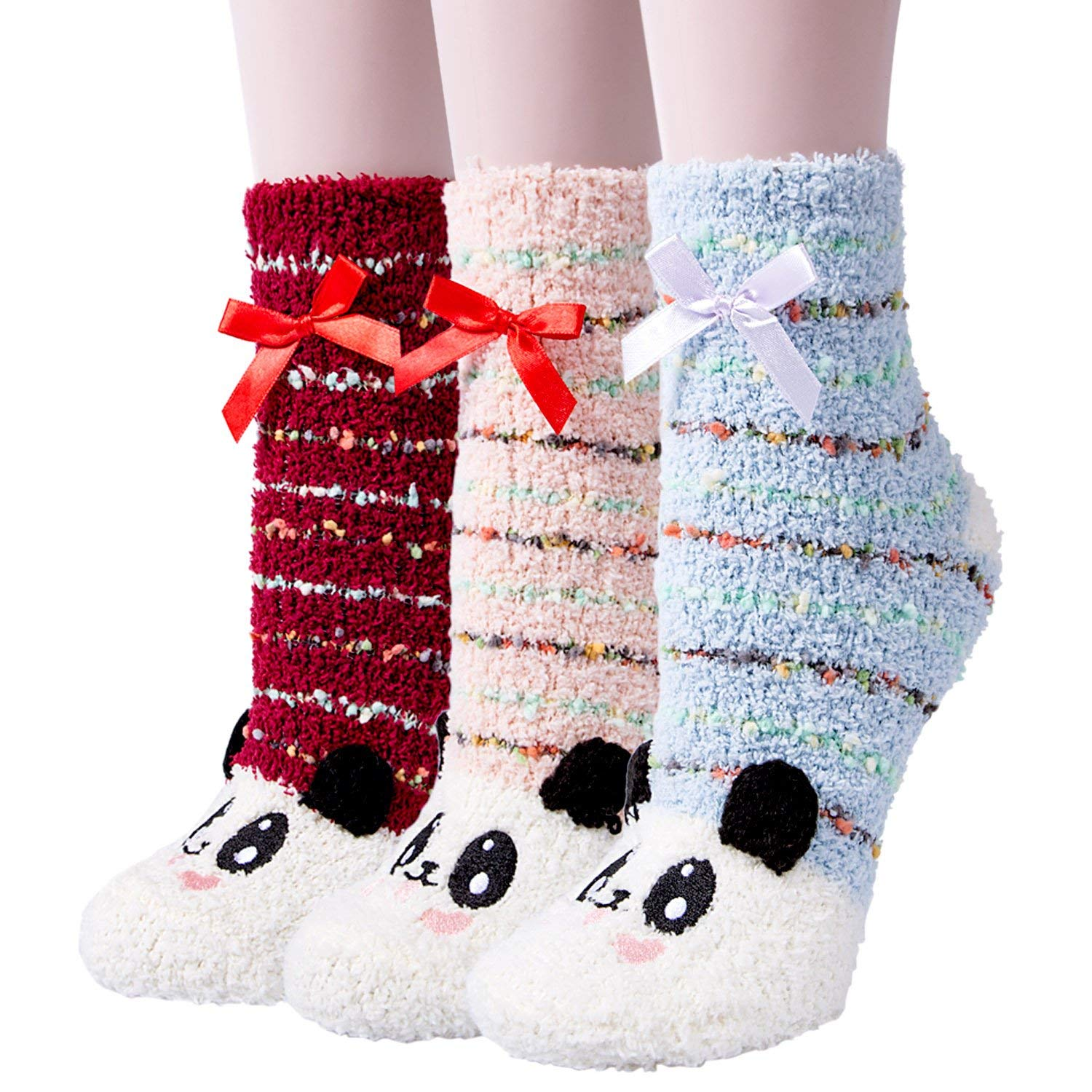 c4f424efc595f Get Quotations · 3 Pairs Womens Fuzzy Soft Slipper Socks Home Sleeping  Winter Warm Fluffy Cute Animal Socks