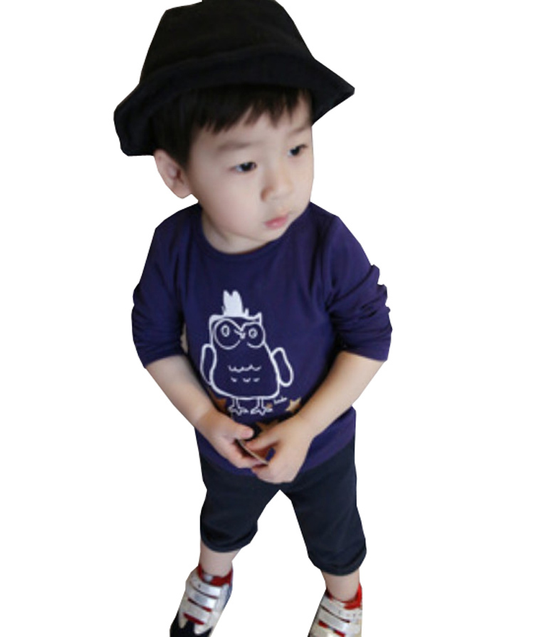 New Fashion Children Boys Clothing Spring Autumn Long Sleeved Round-neck Printed Cotton Boy T Shirt Tee Cartoon Kids Shirt 1-5T