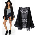 spring summer lady Floral Kimono cardigan hollow Chiffon lace girl thin Loose spliced Fringe Tassel Top