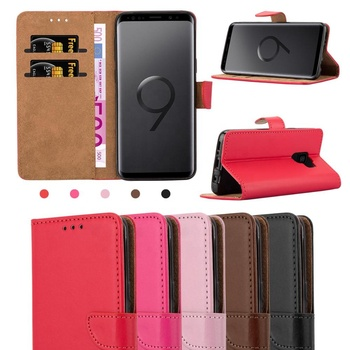 Custom Plain Grain PU Leather Card Holder Flip Wallet Case For Samsung Galaxy S9