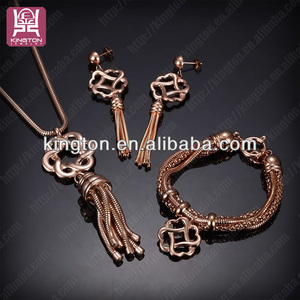 Chinese knot rose gold plated stainless steel jewelry set