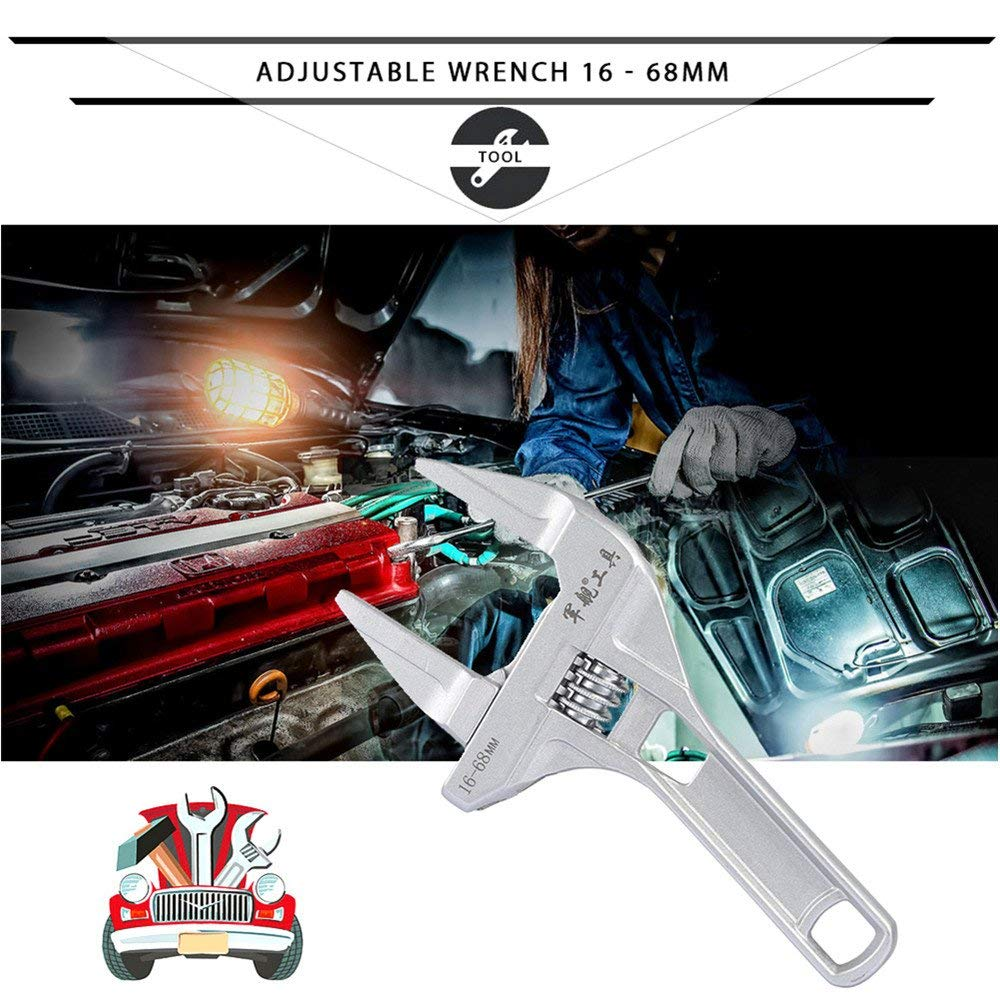 Adjustable Wrench 16-68Mm Large Opening Universal Spanner Wrench Mini Nut Key Hand Tool Mufti-Function Random Handle Multitools