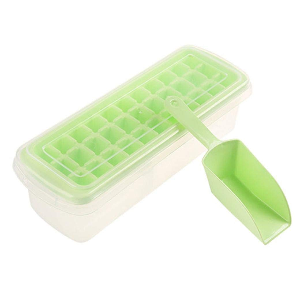 LiPing Food Grade Silicone Ice Cube Tray Molds Kitchen,33-Cube Trays, Easy Release Ice Jelly Pudding Maker Mold (Green)