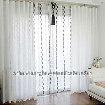 White Curtains With Semi Circle Black Trim Sheer Jute Curtains