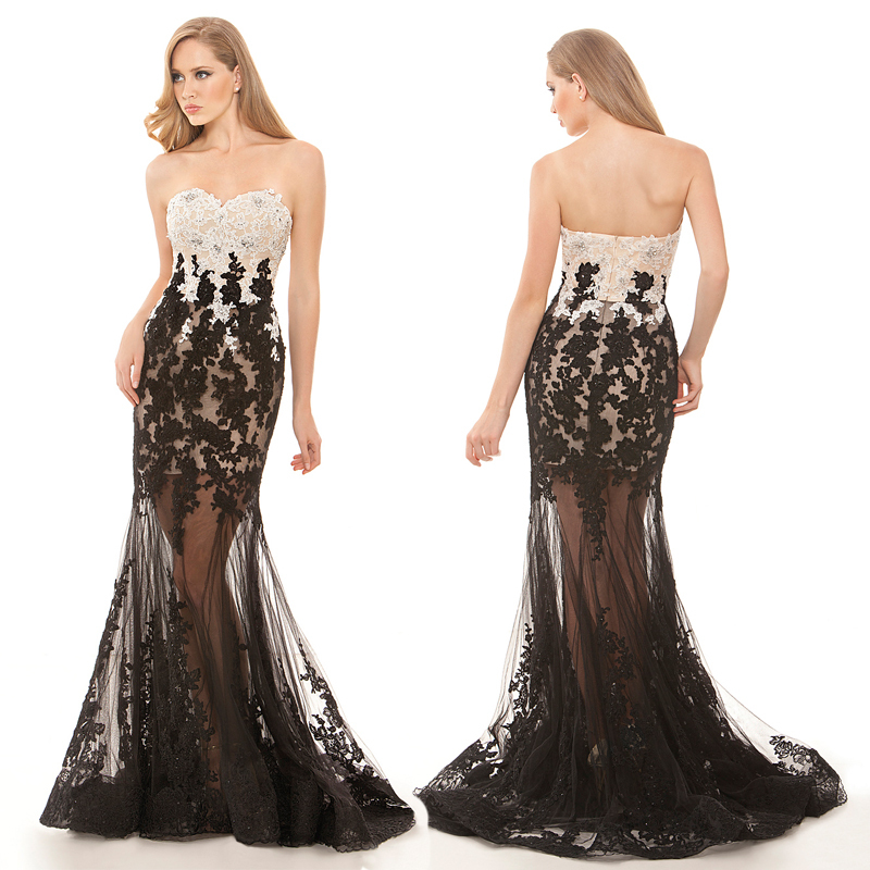 Sexy Long See Through Tulle Night Party Gown Black and White Appliques Prom Dresses Off Shoulder Summer Style FPD53