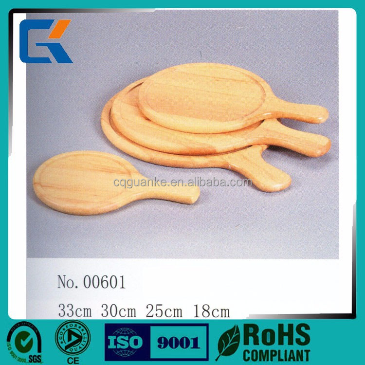 Cheap health dishes natural round wooden pizza plate with handle