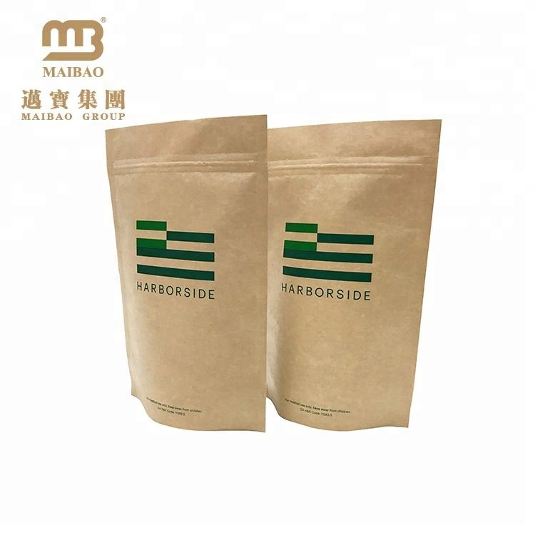 Whole Moisture Proof Kraft Food Grade Packaging Small Wax Lined Paper Bags With Clear Window For Dried