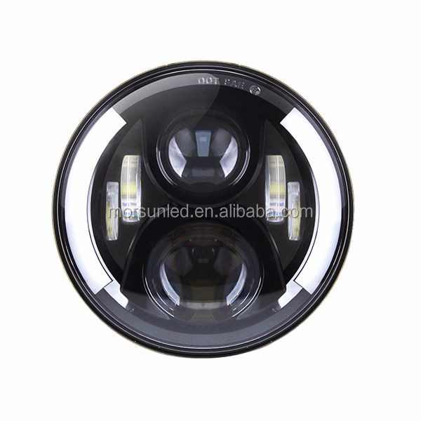 "auto light high power 50W 7"" led JEEP HEADLIGHT 7'' round LED angle eye ring side half ring 50w round light for Jeep wrangler"