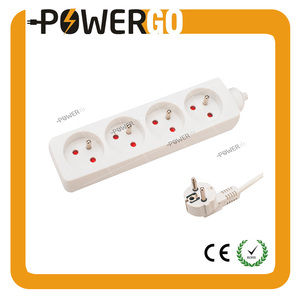 4 Ways European Standard Power Sockets H05VV-F 3G 1.0mm 5 Meters Surge Protector French Type CE ROHS