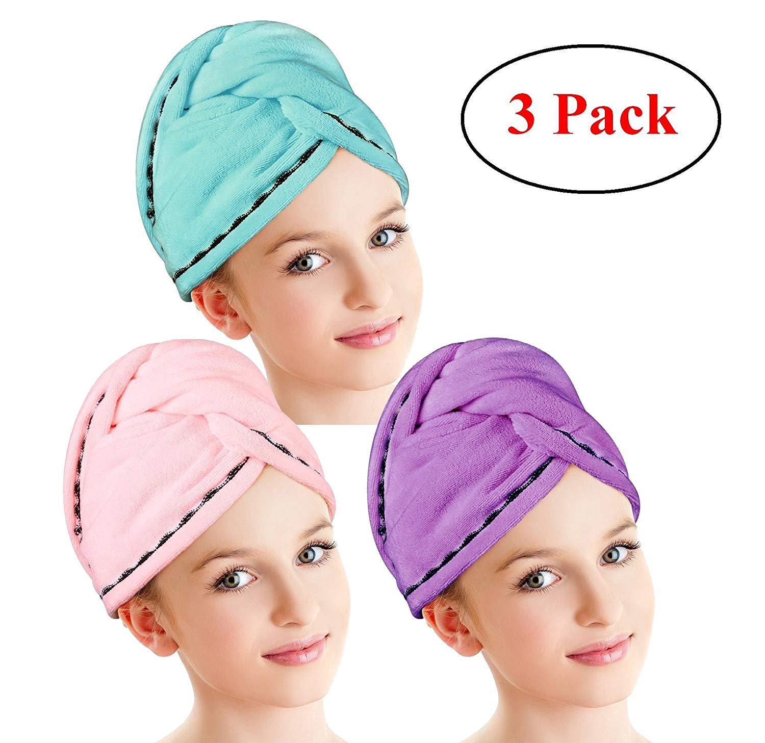 555c8bbf57f Get Quotations · Hair Drying Towels, Fast Drying Hair Cap, Long Hair  Wrap,Super Absorbent Twist