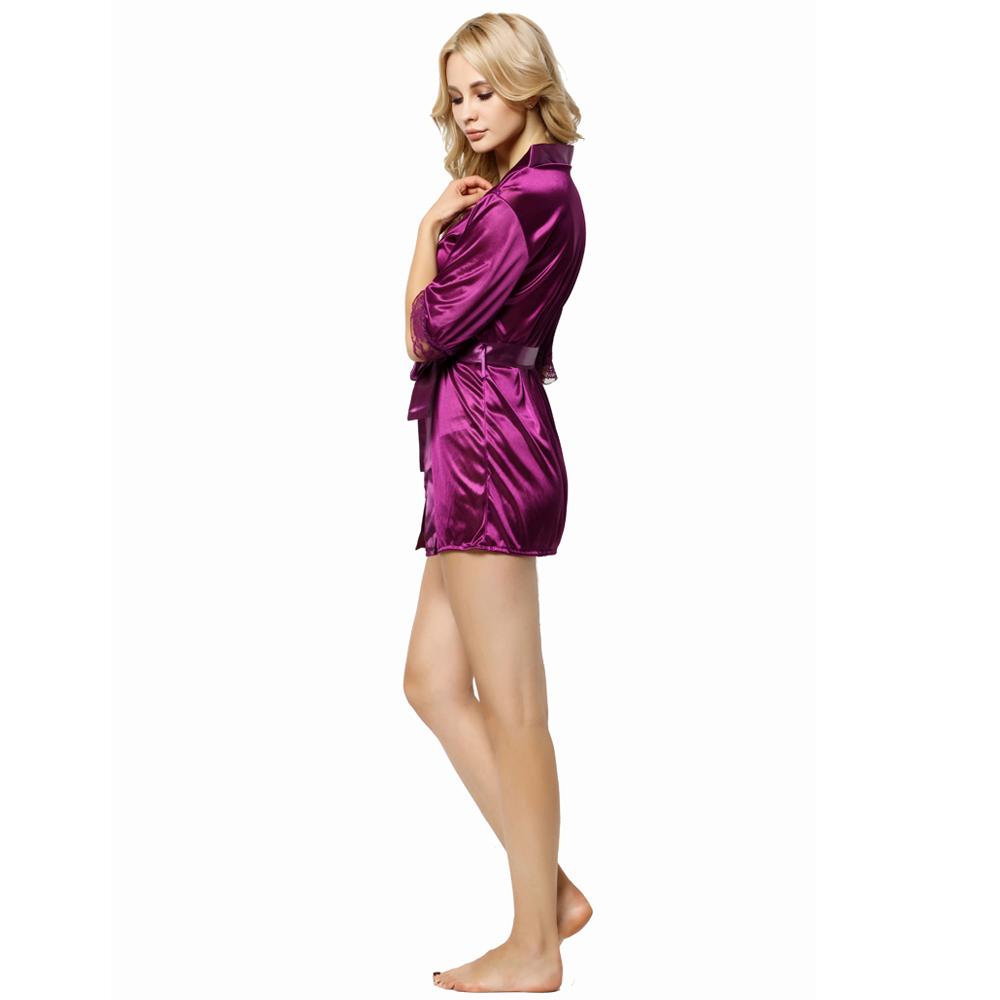 a3b55a3e13 Hot Lace Sleeve Fashion Bathrobe Women Nightwear Satin Silk Robe ...