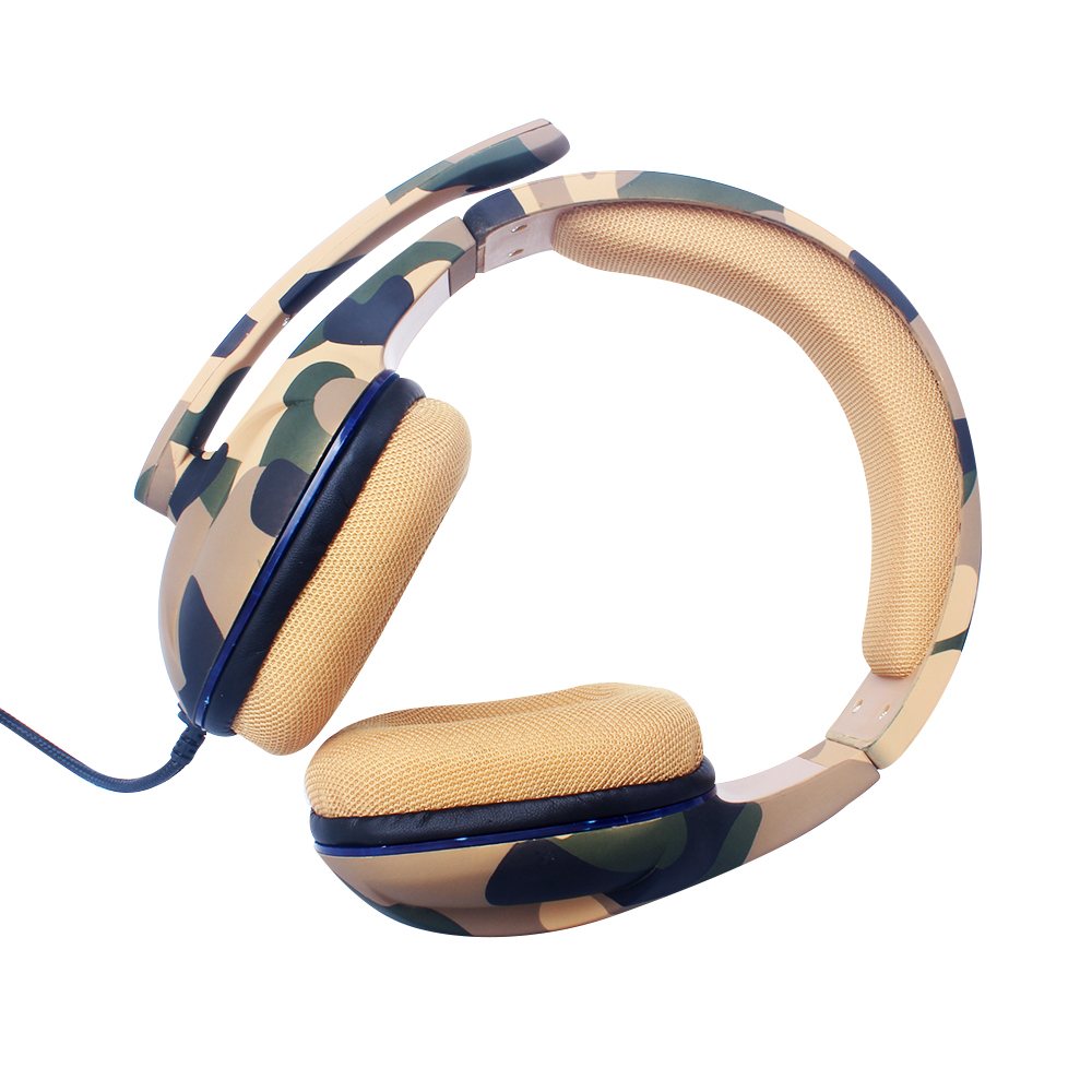 New Design Wired LED Light Stereo Headphone with Microphone Camouflage Gamer headphones