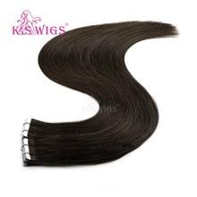 K.S парики 10 шт. прямые человеческие волосы Remy из уток кожи с двойным нарисованным сердечком невидимая лента для наращивания волос 16 ''20'' 24''(Китай)