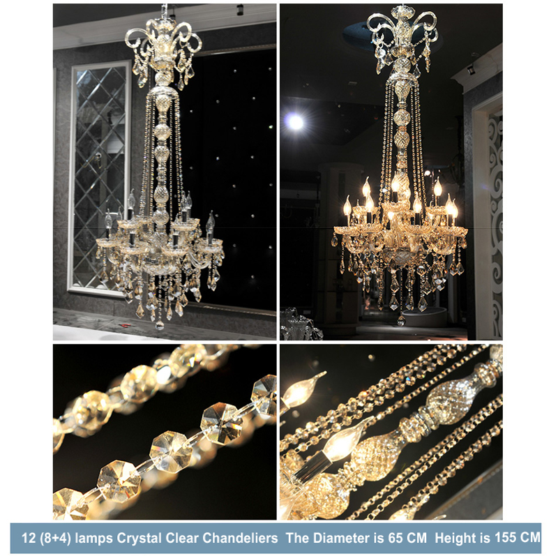 MEEROSEE Long Stair Crystal Chandelier Luxurious Staircase Lighting Hanging Light Fixture For Hotel MD85466
