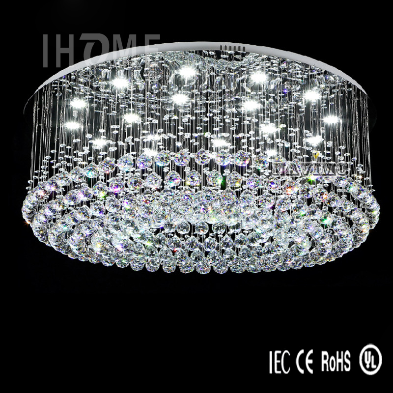 Led Crystal Celling Lighting Fixtures Living Room Hotel Project Lobby Flush Mount Ceiling Lamps