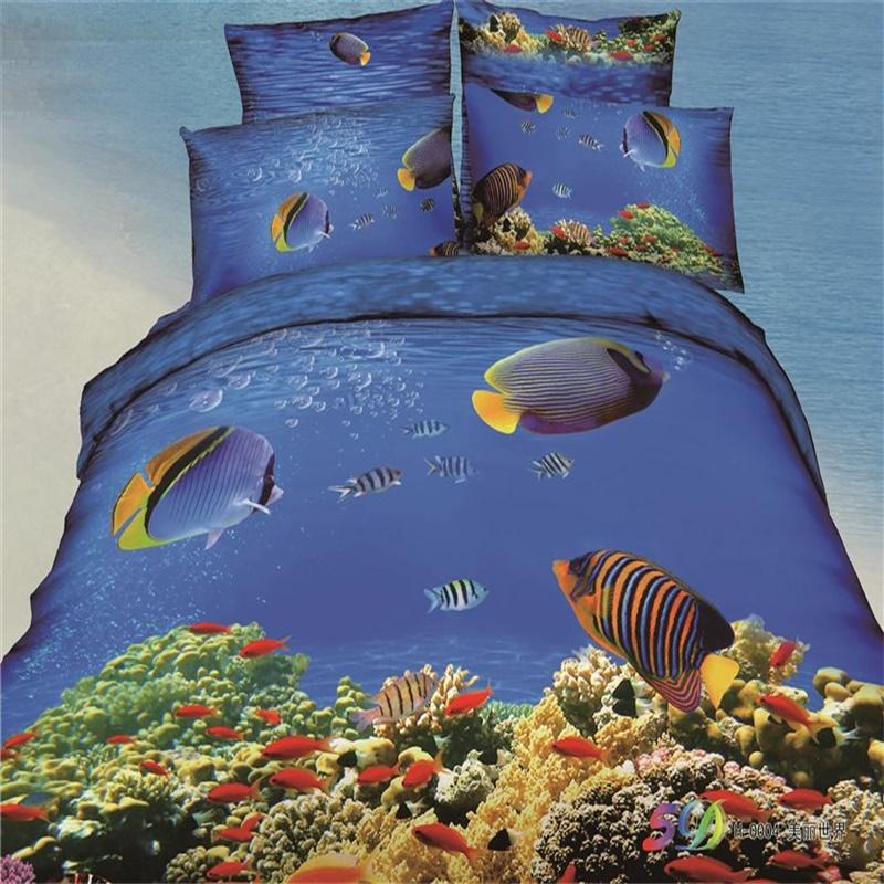 color poissons tropicaux corail bleu oc an 3d ensemble de literie queen 100 coton draps taie. Black Bedroom Furniture Sets. Home Design Ideas
