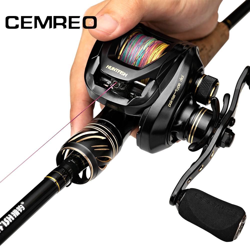 CEMREO Carbon 2.1m-2.4m Baitcasting Fishing Rod and Reel Combo Set