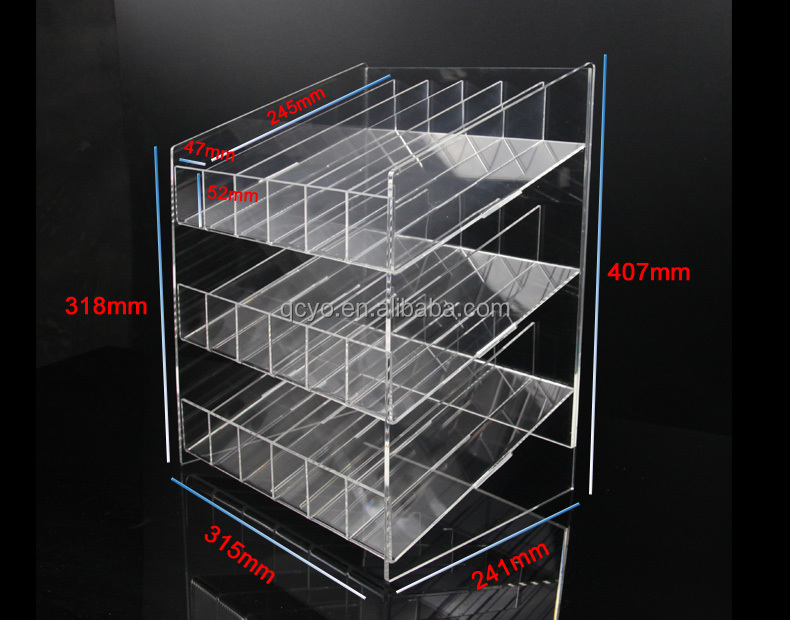 QCY Customized high quality transparent acrylic nail polish display rack