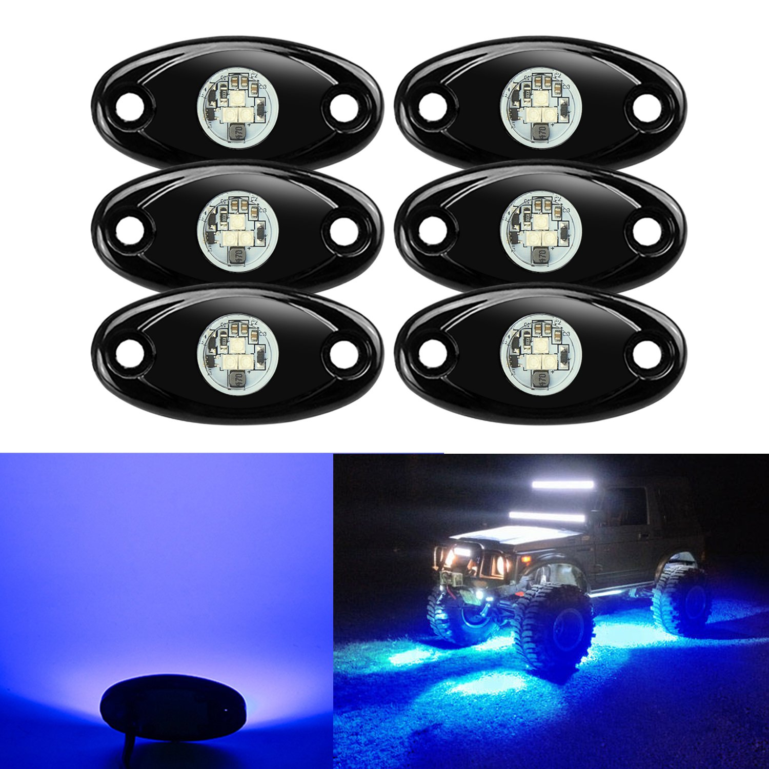 6 Pods LED Rock Lights Kit, Ampper Waterproof Underglow LED Neon Trail Rig Lights for Car Truck ATV UTV Baja Raptor Offroad Boat Trail Rig Lamp Underbody Glow (Blue)