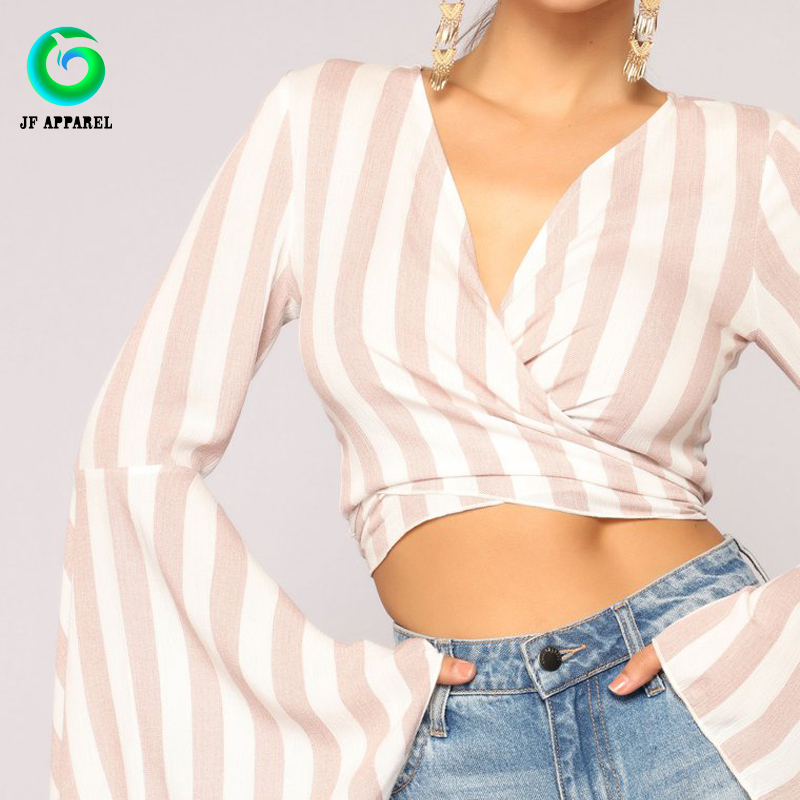 Wholesale Two Tone Striped Dancing Long Bell Sleeve Top T-shirt