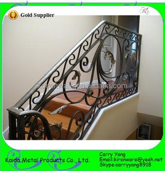 Popular Modern Ornamental Prefab Wrought Iron Stair Railings