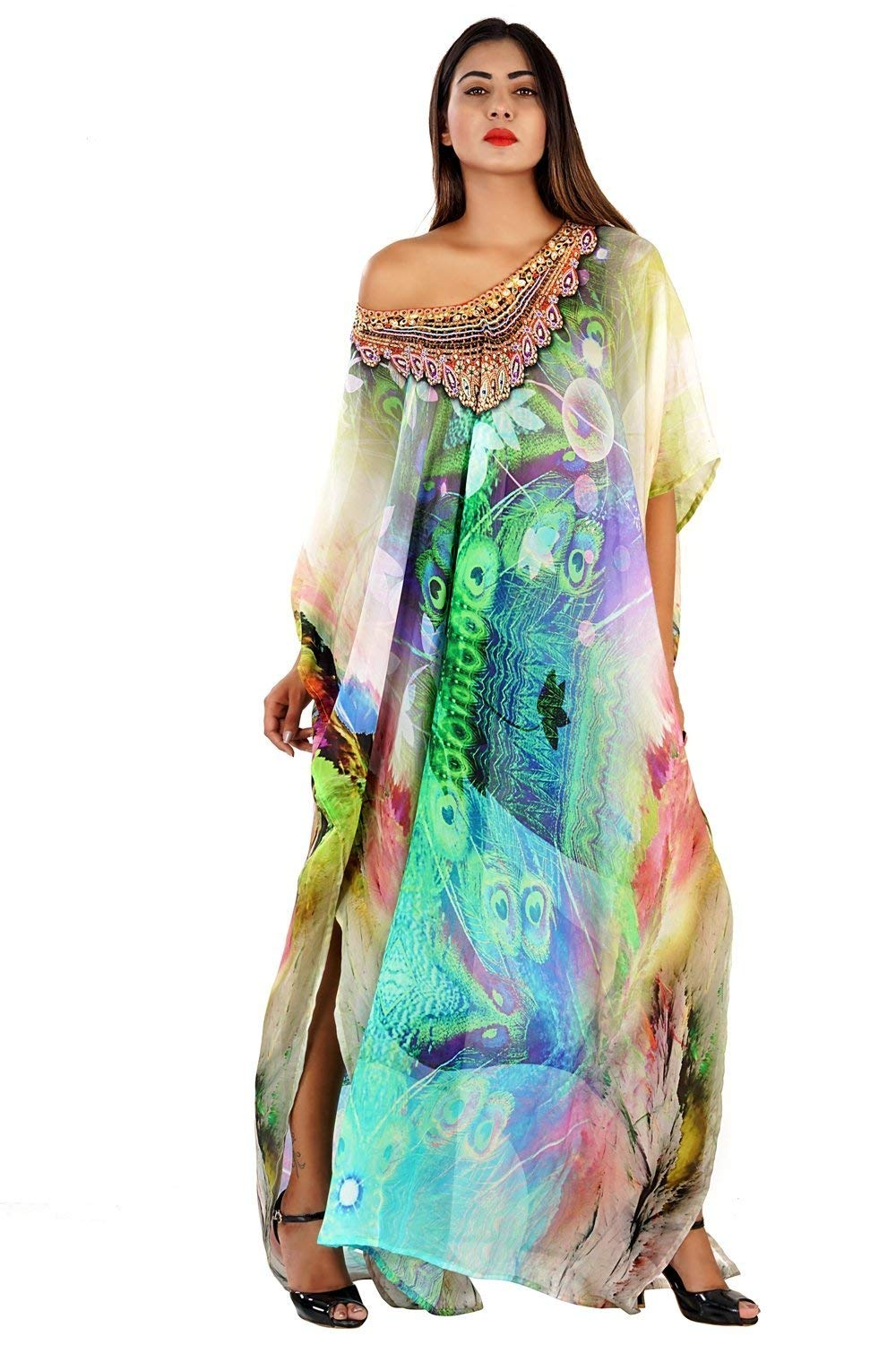 041dfb5b9b Get Quotations · Beautiful womans one piece jewelled full length resort wear  beach coverup kaftan dress gorgeous silk kaftan