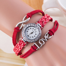2614 Ladies Vintage Watch Women Love Pendant handmade leather watch strap Braided custom wrist watch