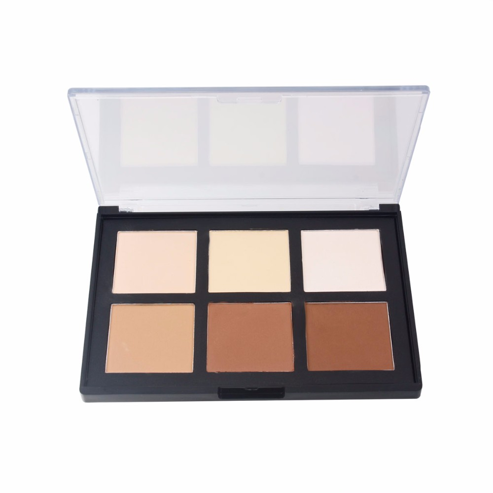 Face Powder Palette 6 color Pressed Powder Kit Contour Make Up Shading Mineral Pressed Powder Palette