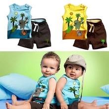 Toddlers Outfits Clothes Boy s Coconut Tree Pattern Sleeveless Tops Pants 0 3YZQ1