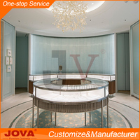 High End Commercial glass wood jewelry display set showcase stand for jewellery shop furniture design