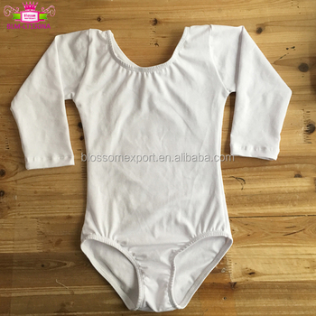 OEM Service ready to ship Long Sleeve Girls Gymnastics white toddler Leotards for dance wear