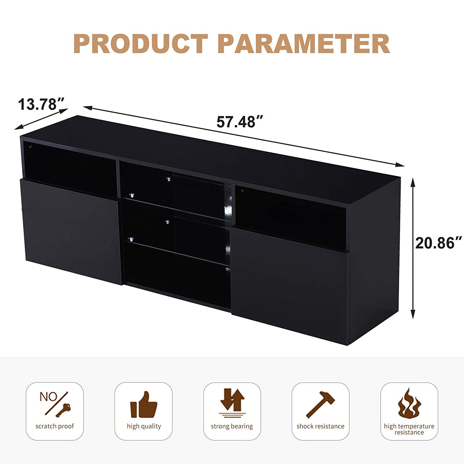 High Gloss Black Cabinet LED Tv Stand Shelves with 2 Drawers for Living Room Storage