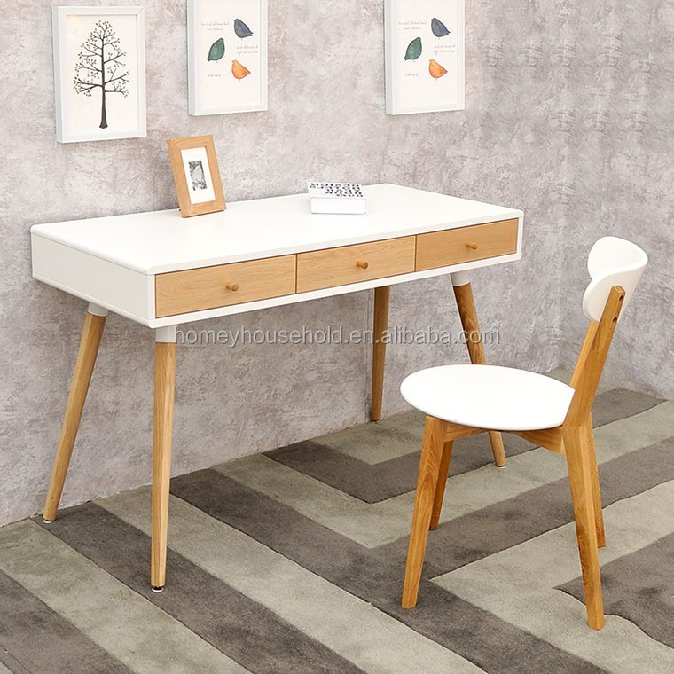 Tables de bureau mode scandinave blanc ch ne en bois table for Table ordinateur