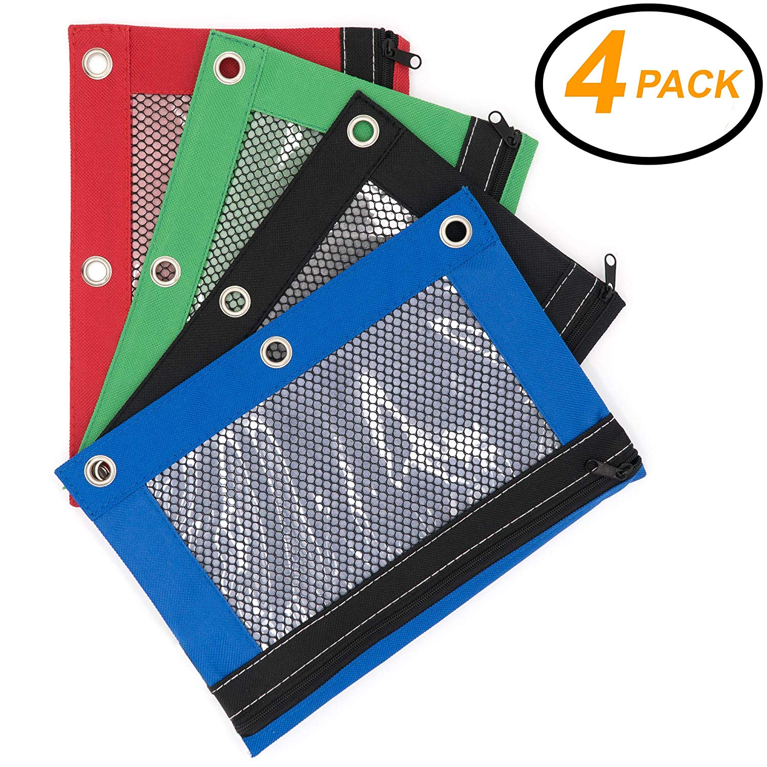 Emraw 4 Pieces Ring Binder Pouch - Pencil Bag with Holes 3-Ring Zipper Pouches with Mesh Window Pencil Pouches for Binders, Zippered Pencil Pouch Storage Pouch mesh Pencil case (4-Pack)