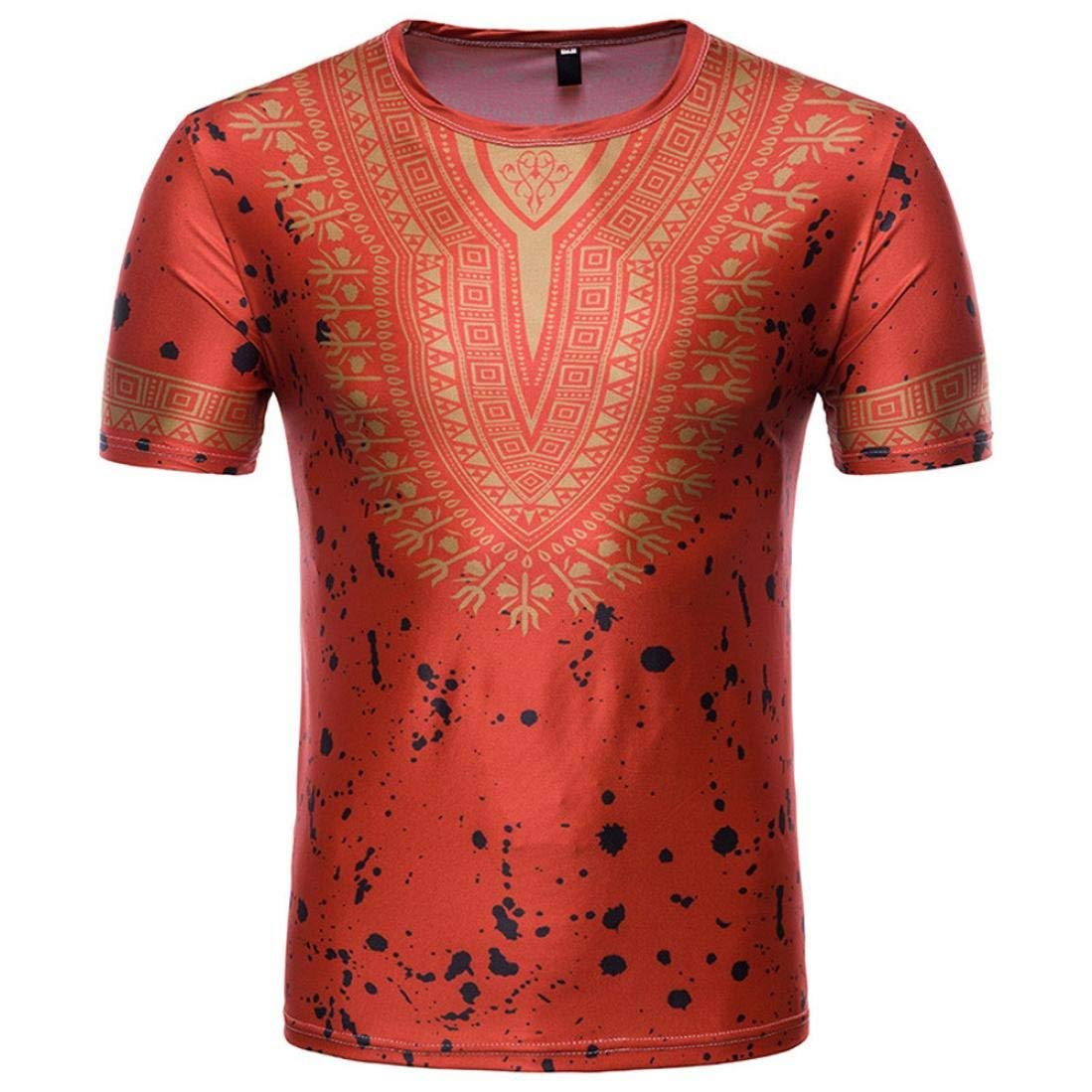 Coper New T-shirt, Men African Print O Neck Pullover T-shirt Short Sleeve Blouse