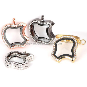 Wholesale stainless steel lockets apple shape floating charm locket pendant necklace