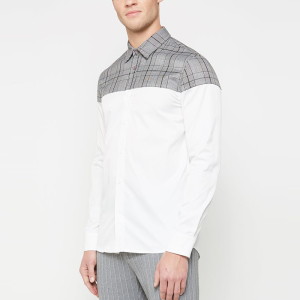 men's clothing latest design grey white split check shirt