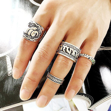 Punk 4pcs/set Engraved Elephant Wide Band Ring Sets For Unisex