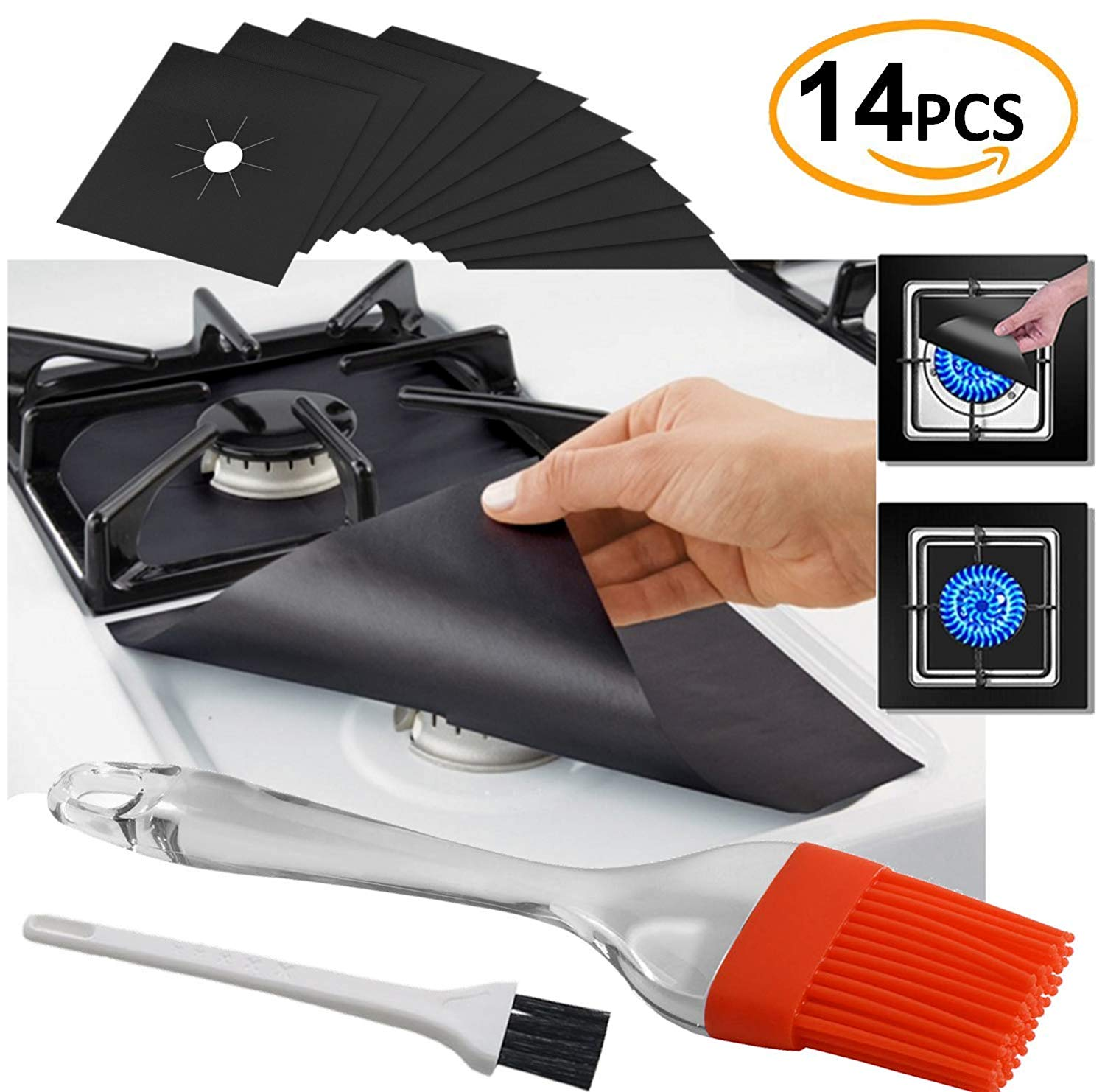 SPECIAL OFFER 12 Pcs Black Gas Stove Burner Covers + 2 BONUS Silicone Brush - Stove Top Liner - Gas Range Protector - Stove Burner Covers - IMPROVED Double Thickness 0.2mm Reusable & Dishwasher Safe