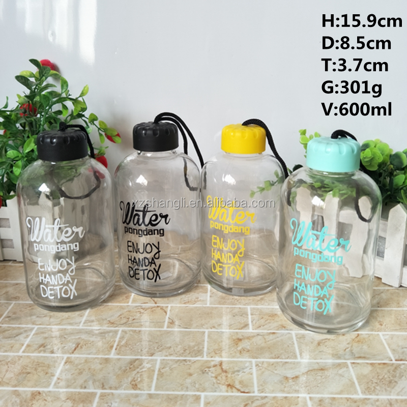 hot sale easy-taking 600ml 20oz glass sport water bottle for young people