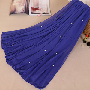 Plain Jersey with Beads Hijab Wrap Pure Polyester Elastic Islam Shawls Pearl Maxi Scarf Muslim Headband 21 Colors 180*90cm