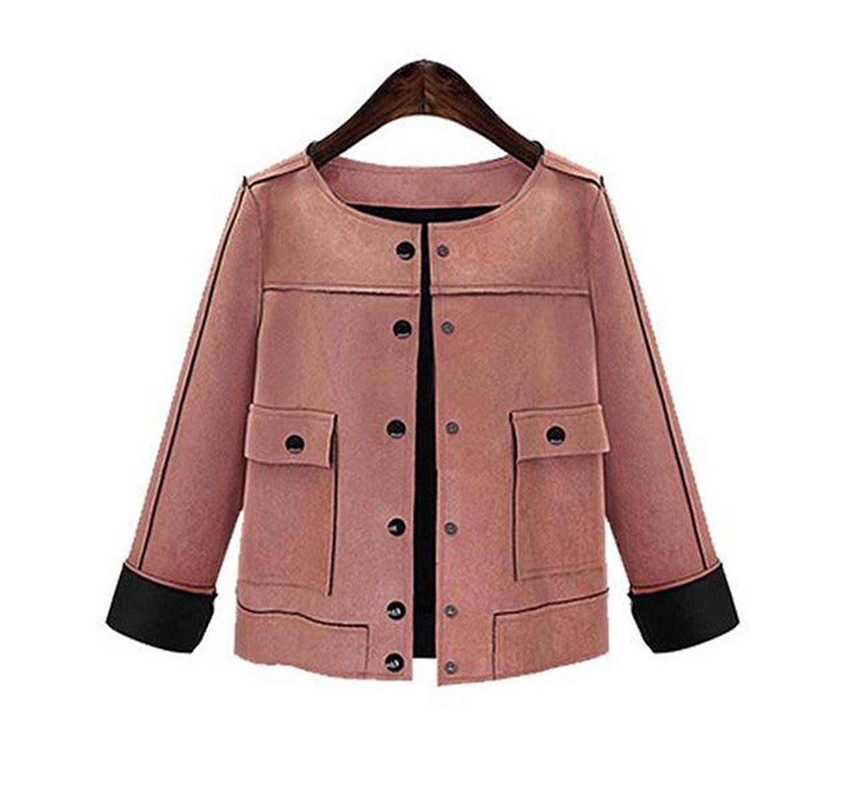 2de4cbc91c8d3 Kongsta New Jackets Plus Size 3XL 4XL 5XL Women Short Jacket Fashion Autumn  Slim Vintage Chamois Leather Suede Ladies