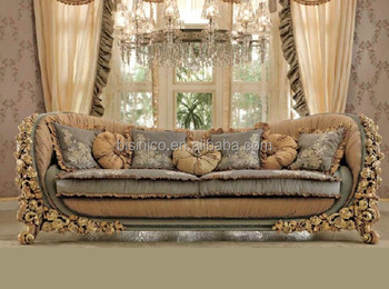 Exquisite Resin Carving Living Room Furniture Set Wood Frame Soft