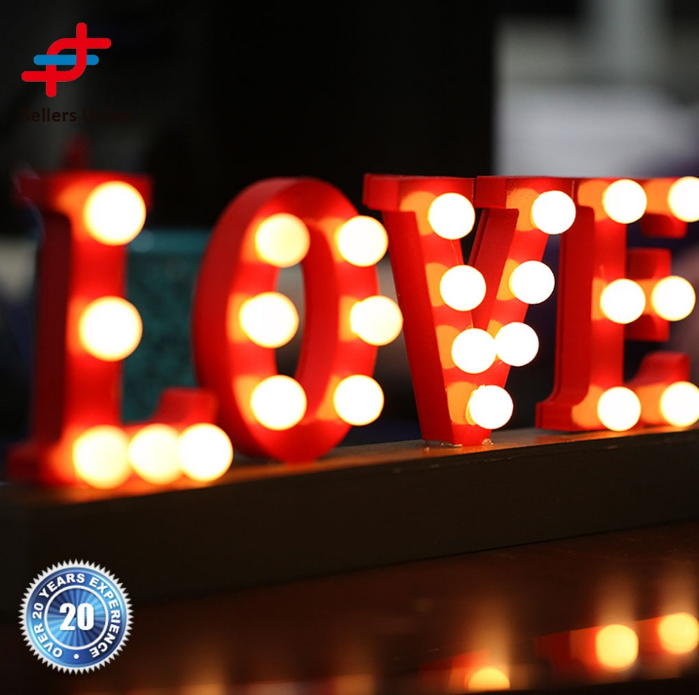 High quality outdoor marquee light led love letters for wedding decoration